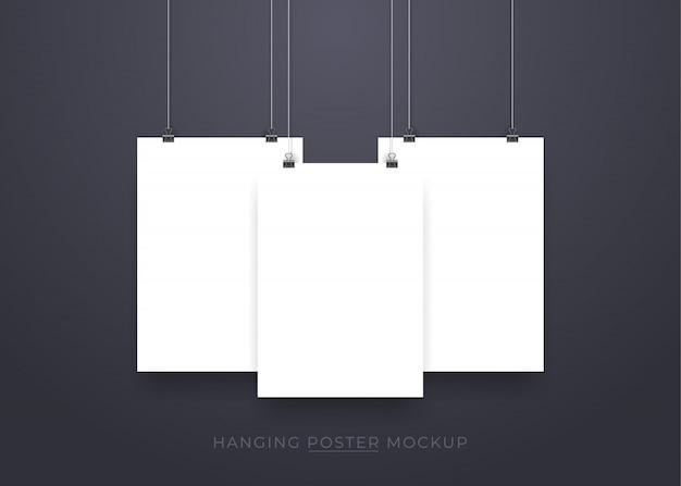 Appeso realistico mockup poster 3d Vettore Premium