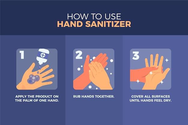 Applicare strofinare e coprire tutta la superficie delle mani con disinfettante Vettore gratuito