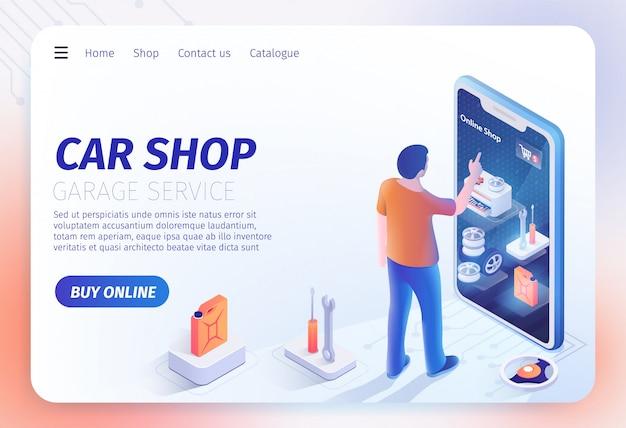 Applicazione car shop sul modello di pagina di destinazione per smartphone Vettore Premium