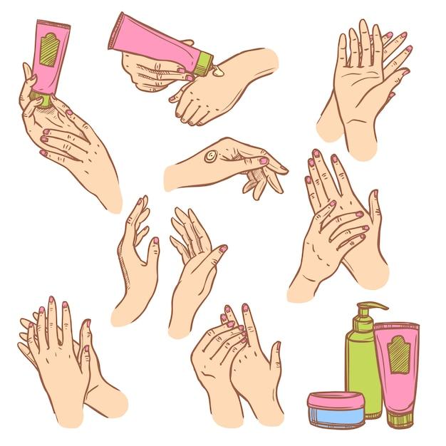 Applicazione della composizione piana nelle icone delle mani crema Vettore gratuito