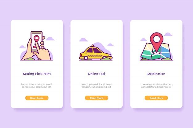 Applicazione di taxi online dell'illustrazione di bordo Vettore Premium