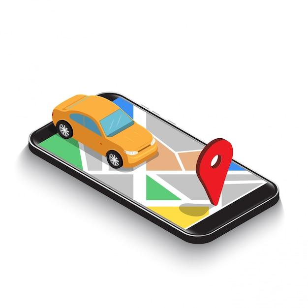 Applicazione isometrica piana 3d di navigazione della mappa dei gps di uso dell'automobile sullo smartphone. Vettore Premium