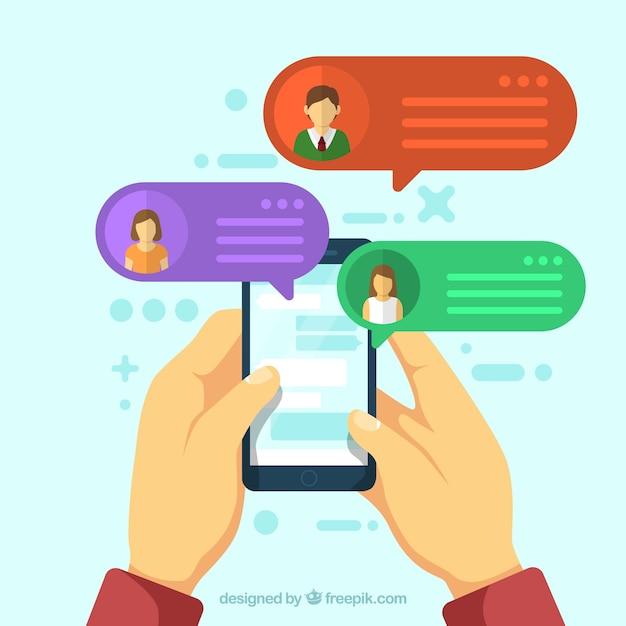 Applicazione messenger in stile piatto Vettore gratuito