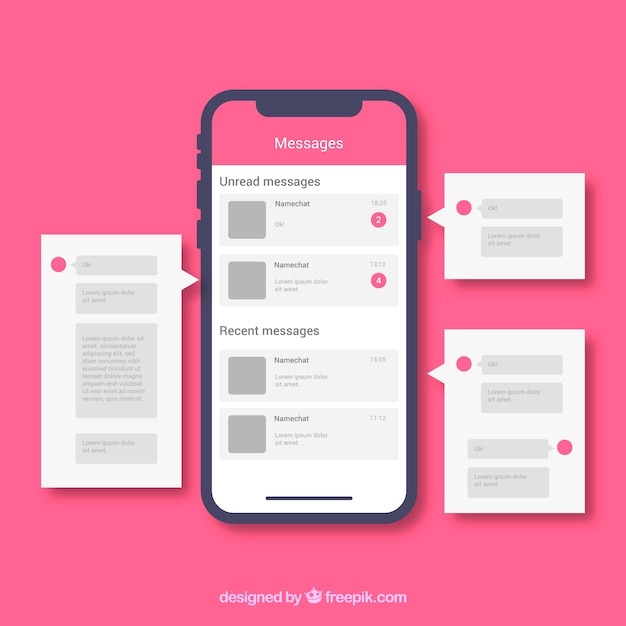 Applicazione messenger per chattare in stile flat Vettore gratuito