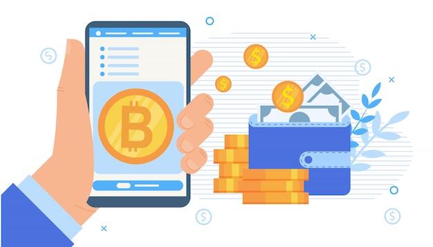 Applicazione mobile di borsa di criptovaluta Vettore Premium