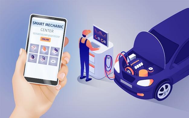 Applicazione mobile di smart mechanic center online Vettore Premium