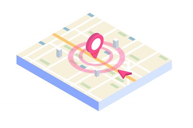Applicazione mobile gps isometrica 3d. illustrazione. Vettore Premium