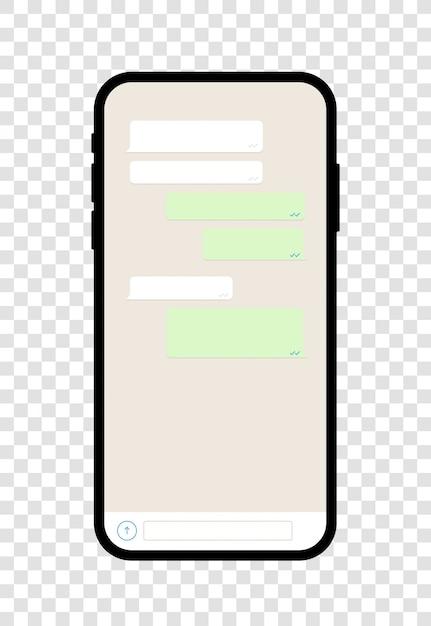 Applicazione per cellulare con schermata di chat con emoticon Vettore Premium
