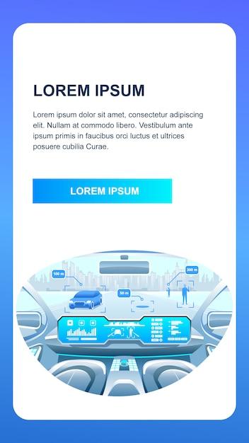 Applicazione smart car phone Vettore Premium