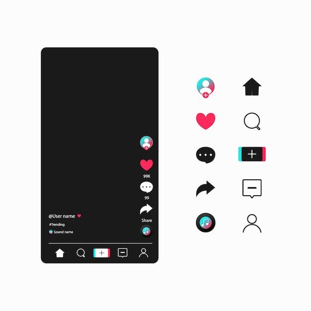 Applicazione web dei bottoni di progettazione moderna dei modelli di media sociali. imposta icone: ricerca, storia, come, condividi, hashtag, utente, commento, nota, home, plus. Vettore Premium