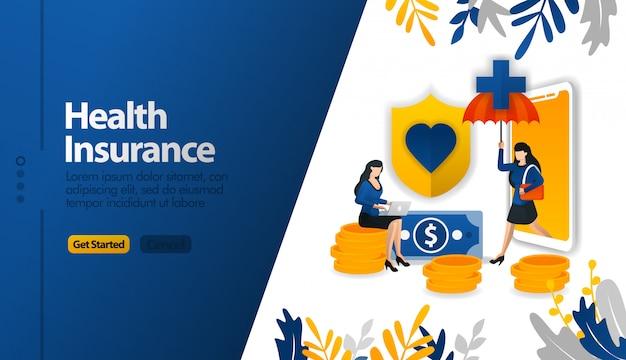 Applicazioni mobili di assicurazione sanitaria con ombrelli e protezioni protettivi Vettore Premium