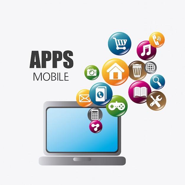 Applicazioni mobili e design di icone tecnologiche. Vettore Premium