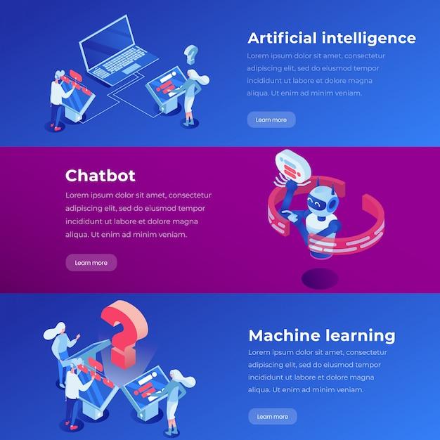 Apprendimento automatico, applicazione software, layout vettoriale di layout del sito web. Vettore Premium