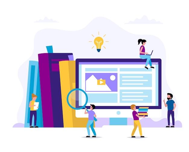 Apprendimento e lettura. illustrazione del concetto per l'educazione Vettore Premium
