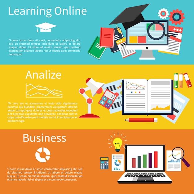 Apprendimento online, analisi e business Vettore Premium