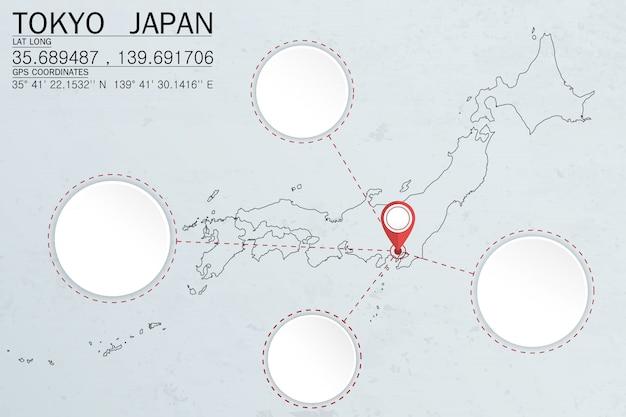Appuntare a tokyo in giappone con lo spazio del cerchio Vettore Premium