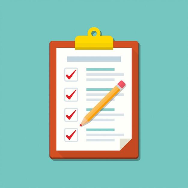 Appunti con lista di controllo e icona della matita Vettore Premium