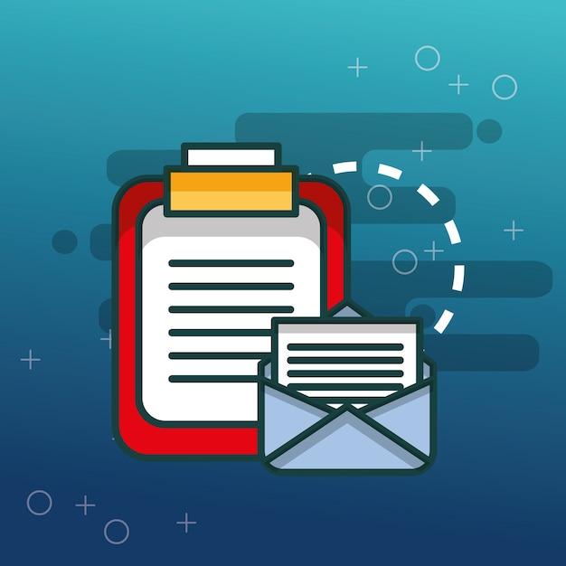 Appunti ufficio di comunicazione e-mail di documenti Vettore Premium