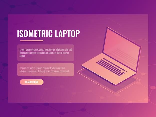 Apra il computer portatile isometrico, bandiera della tecnologia digitale del computer, fondo astratto Vettore gratuito