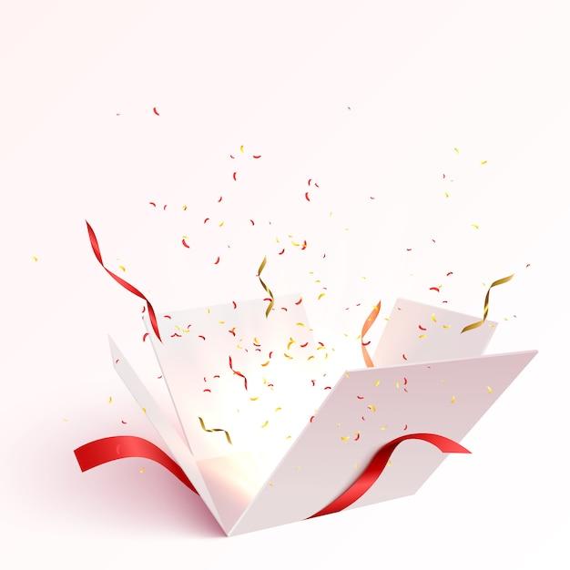 Apra il contenitore di regalo con l'esplosione di scoppio dei coriandoli isolata. Vettore Premium