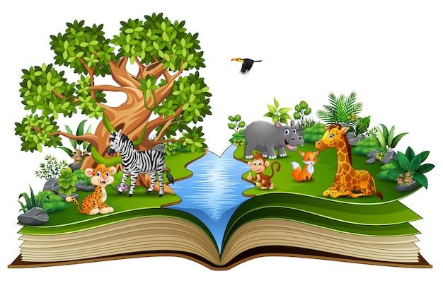 Apra il libro con il fumetto animale che gioca nel fiume Vettore Premium