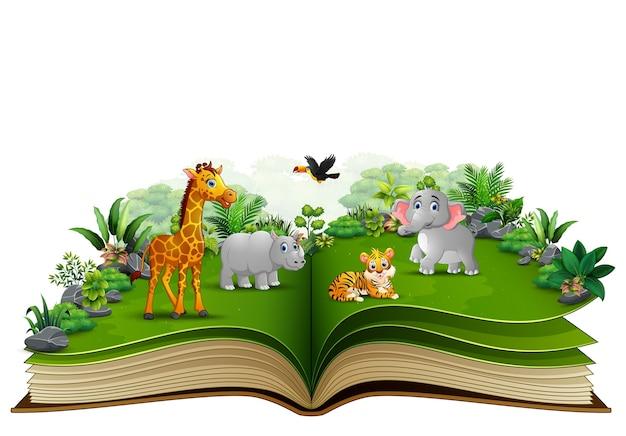 Apra il libro con il fumetto animale che gioca nel parco Vettore Premium