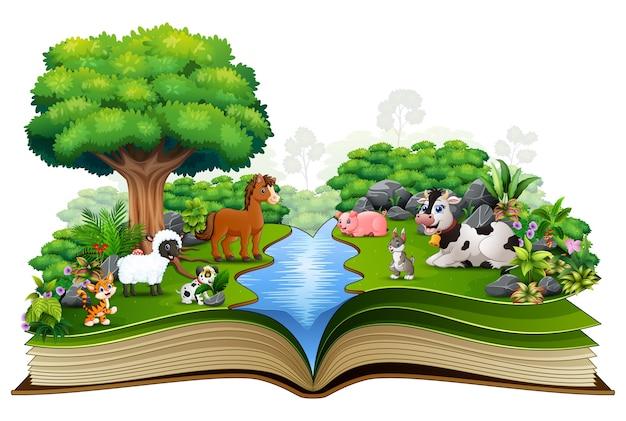 Apra il libro con la fattoria degli animali che gioca nel parco Vettore Premium