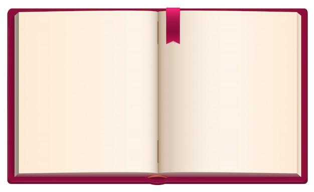 Apra il libro in bianco con il segnalibro rosso del nastro Vettore Premium