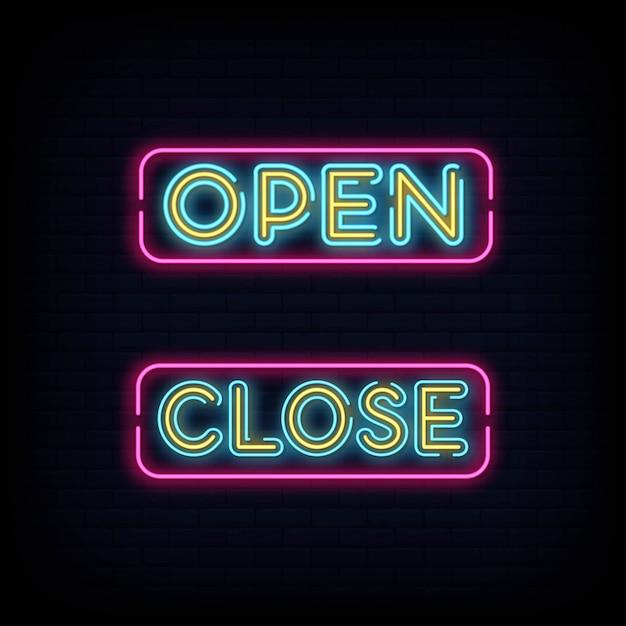 Apri chiudi l'effetto neon al testo. aperto vicino insegna al neon Vettore Premium