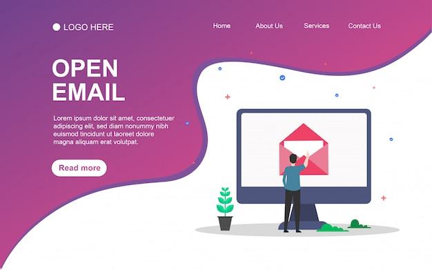 Apri email con carattere persone per il modello di pagina di destinazione web. Vettore Premium