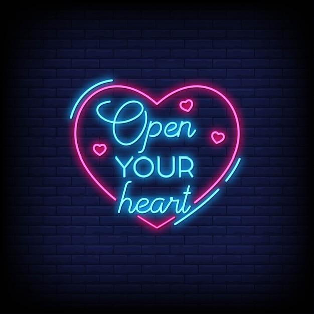 Apri il tuo cuore per poster in stile neon. citazioni romantiche e parola in stile insegna al neon. Vettore Premium