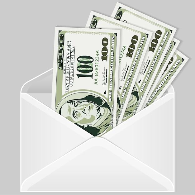 Apri la busta con banconote da un dollaro Vettore Premium