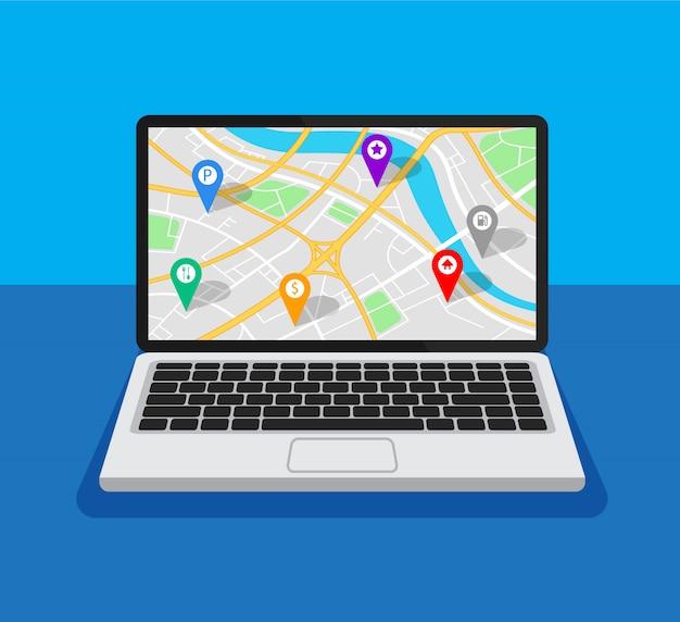 Apri laptop con la navigazione della mappa su uno schermo. navigatore gps con punti diversi. Vettore Premium