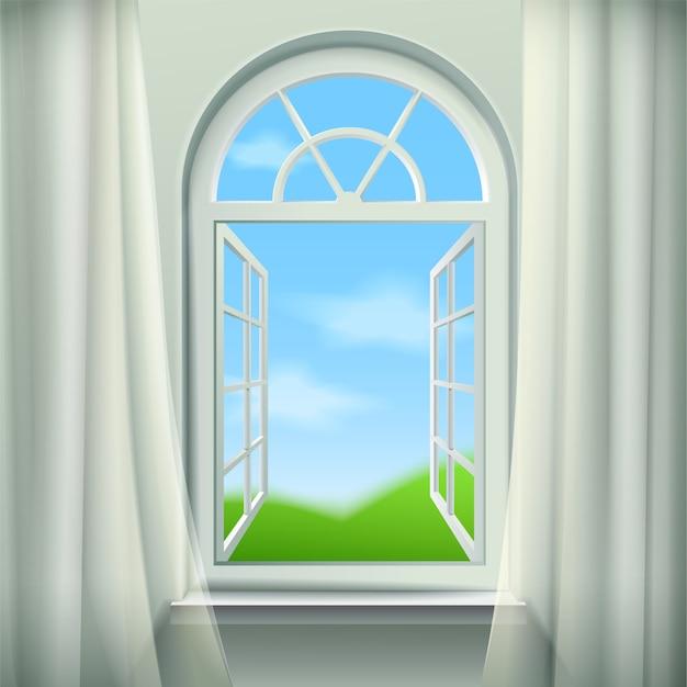 Apri sfondo finestra ad arco Vettore gratuito