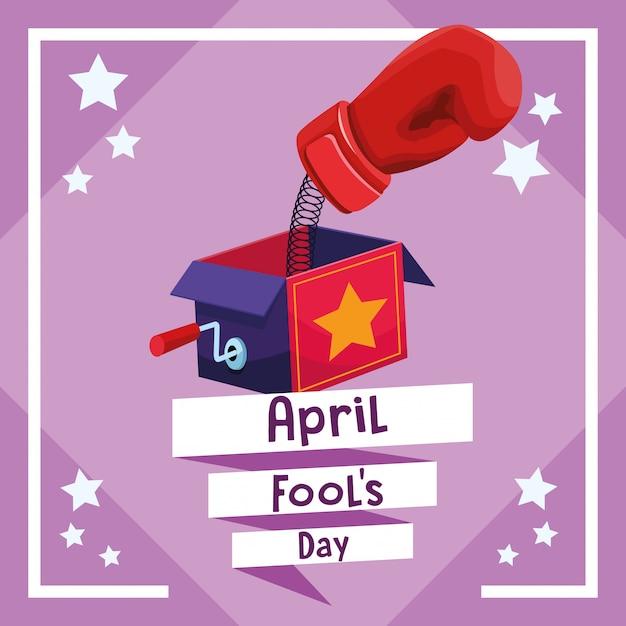 April fools day card Vettore Premium