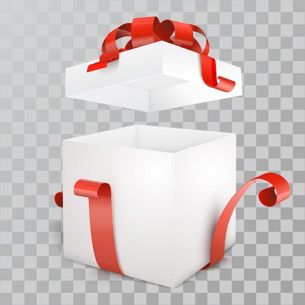 Aprire la confezione regalo vuota con il nastro rosso Vettore Premium