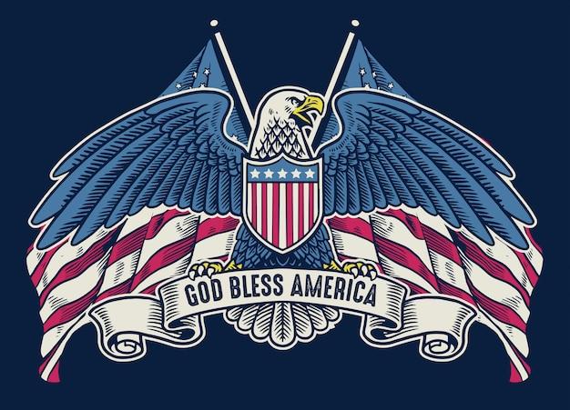 Aquila americana disegnata a mano d'annata con la bandiera come fondo Vettore Premium