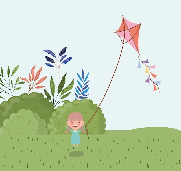 Aquilone felice di volo della bambina nel paesaggio del campo Vettore gratuito
