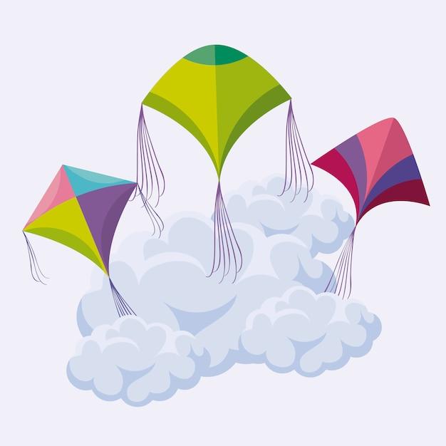 Aquiloni che volano nel cielo Vettore Premium