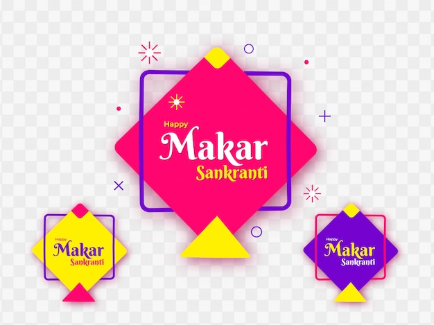 Aquiloni colorati decorati su sfondo png per happy makar sankr Vettore Premium