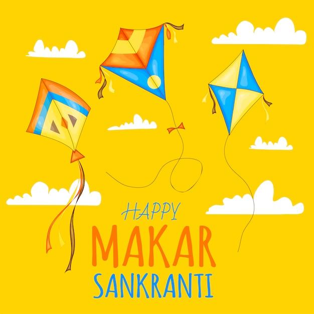 Aquiloni colorati vettoriali per la celebrazione del festival happy makar sankranti. Vettore Premium