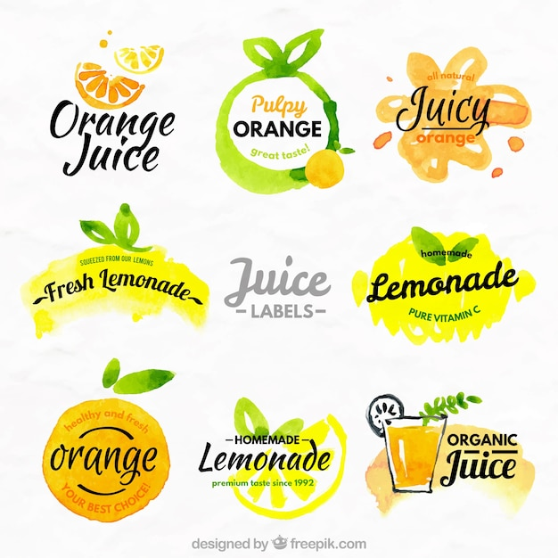 Arance e limoni etichette Vettore gratuito