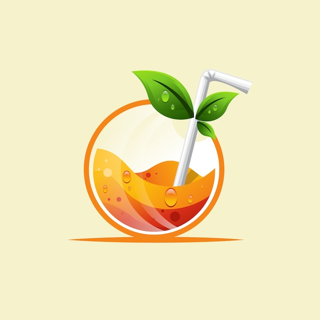Arancia bevanda fresca logo design Vettore Premium