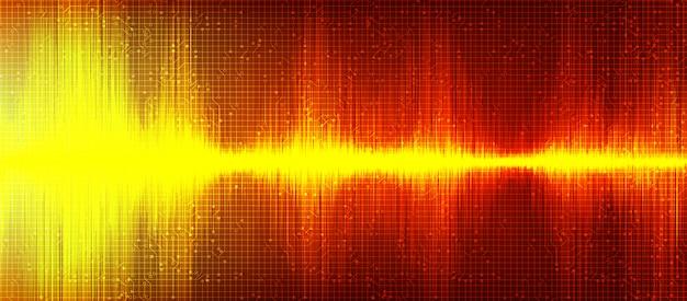 Arancione digital sound wave background Vettore Premium