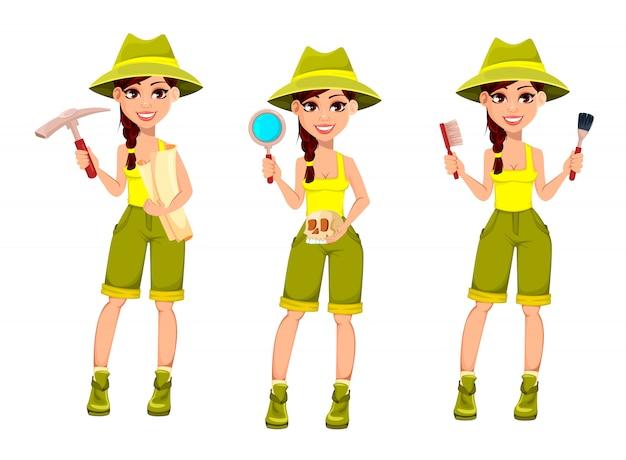 Archeologa donna. personaggio dei cartoni animati carino Vettore Premium