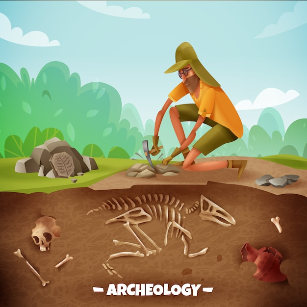 Archeologia con testo e carattere archeologico durante gli scavi archeologici con ossa di dinosauro e paesaggio all'aperto Vettore gratuito