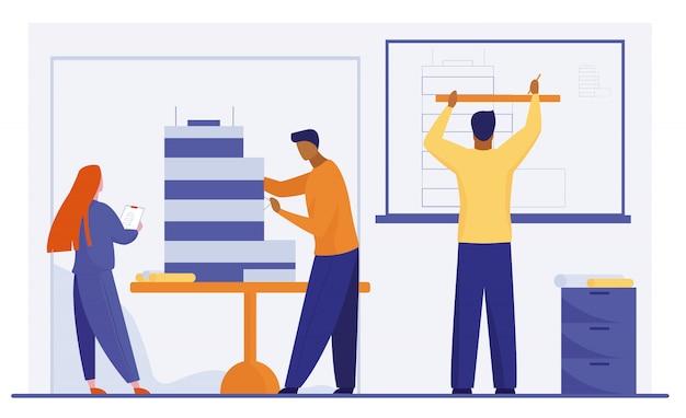 Architetti che lavorano al modello di costruzione Vettore gratuito