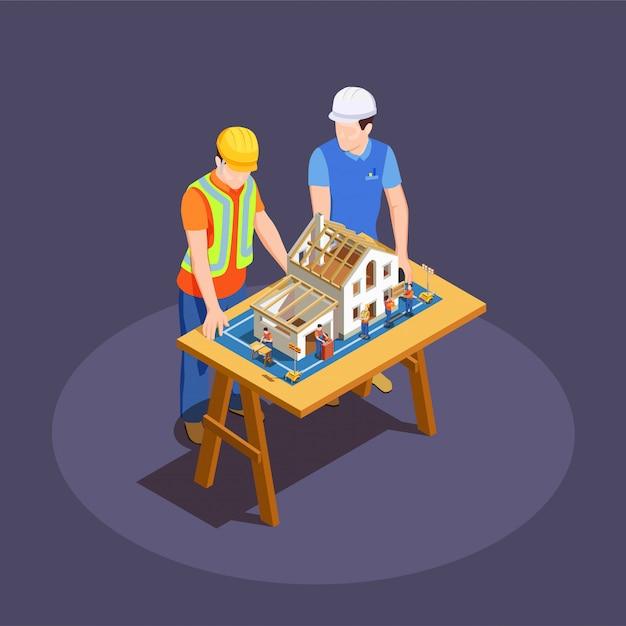 Architetto e caporeparto con il progetto di costruzione della casa sullo scrittorio di legno Vettore gratuito