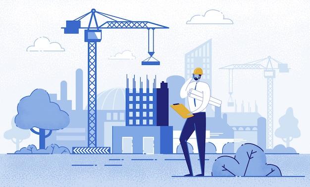 Architetto holding blueprints vicino a costruzione. Vettore Premium