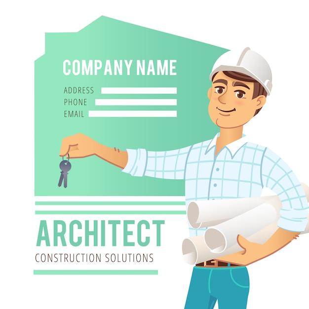 Architetto in casco con i modelli e le chiavi a disposizione contro fondo della casa costruita Vettore Premium